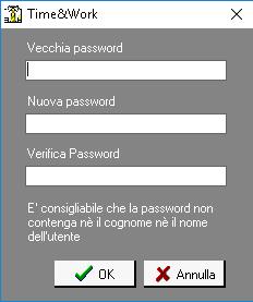 Cambio Password Time&Work Schermata